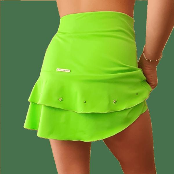 Falda tenis volantes verde fluor